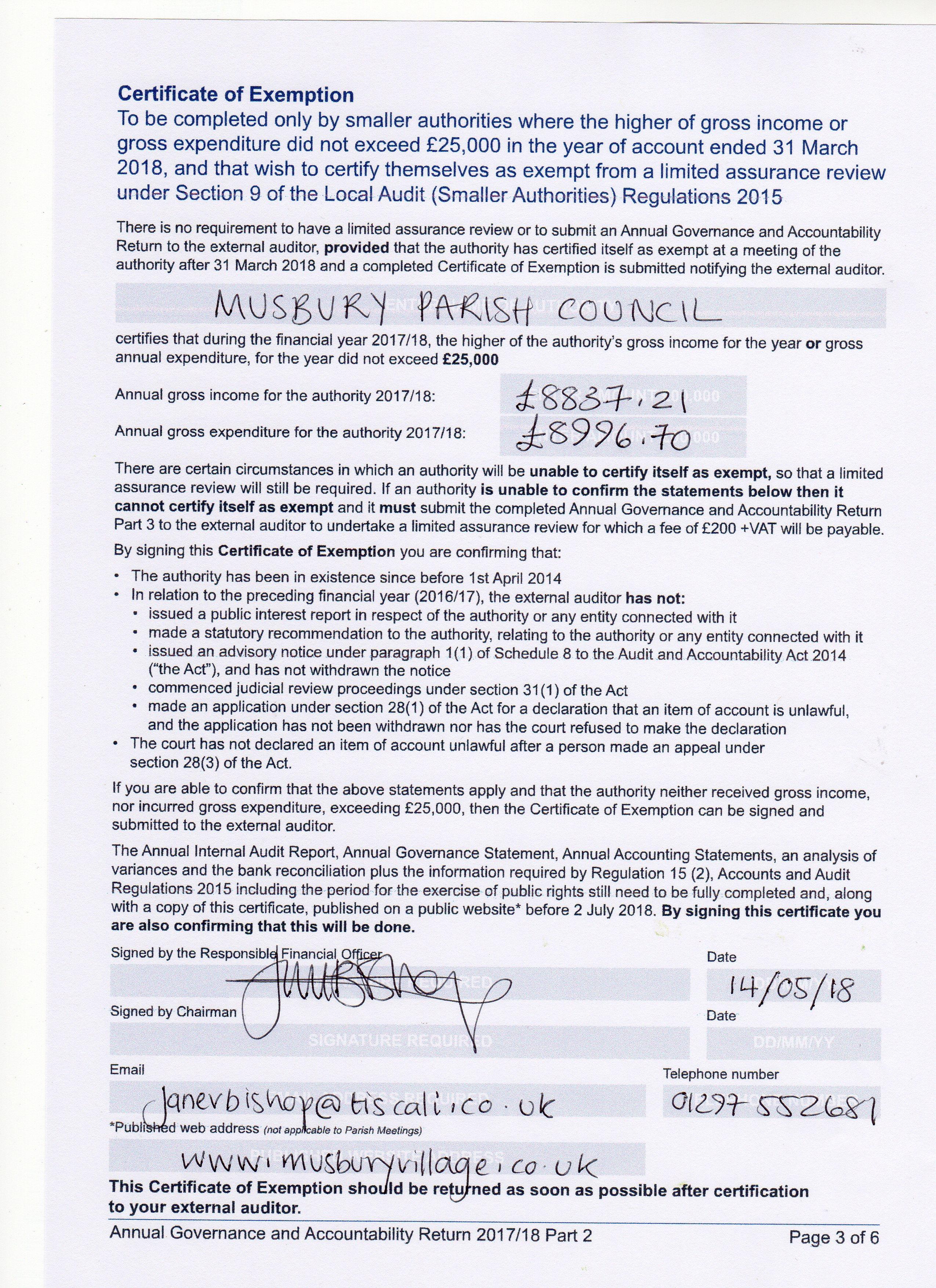 Parish Council Accounts And Audits Musbury Village